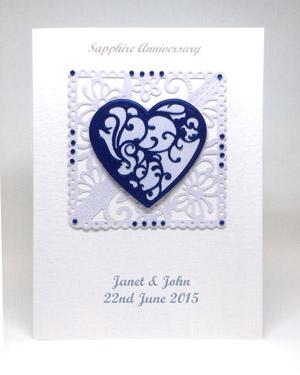 Sapphire Blue - Sapphire Wedding Anniversary Card Front - Ref P220