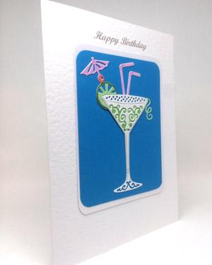 Celebration Cocktail - Women's Birthday Card Angle - Ref P221