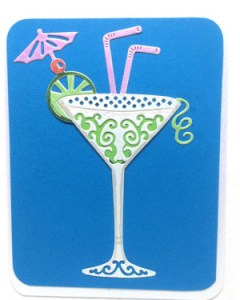 Celebration Cocktail - Women's Birthday Card Closeup - Ref P221