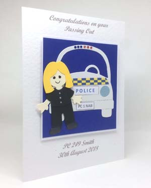 Police Woman Passing Out Special Occasion Card Angle - P222