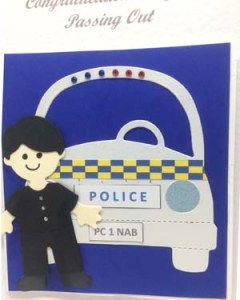 Policeman Passing Out Special Occasion Card Closeup - P223