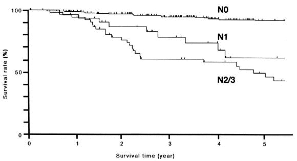 Lymph node involvement, recurrence, and prognosis in