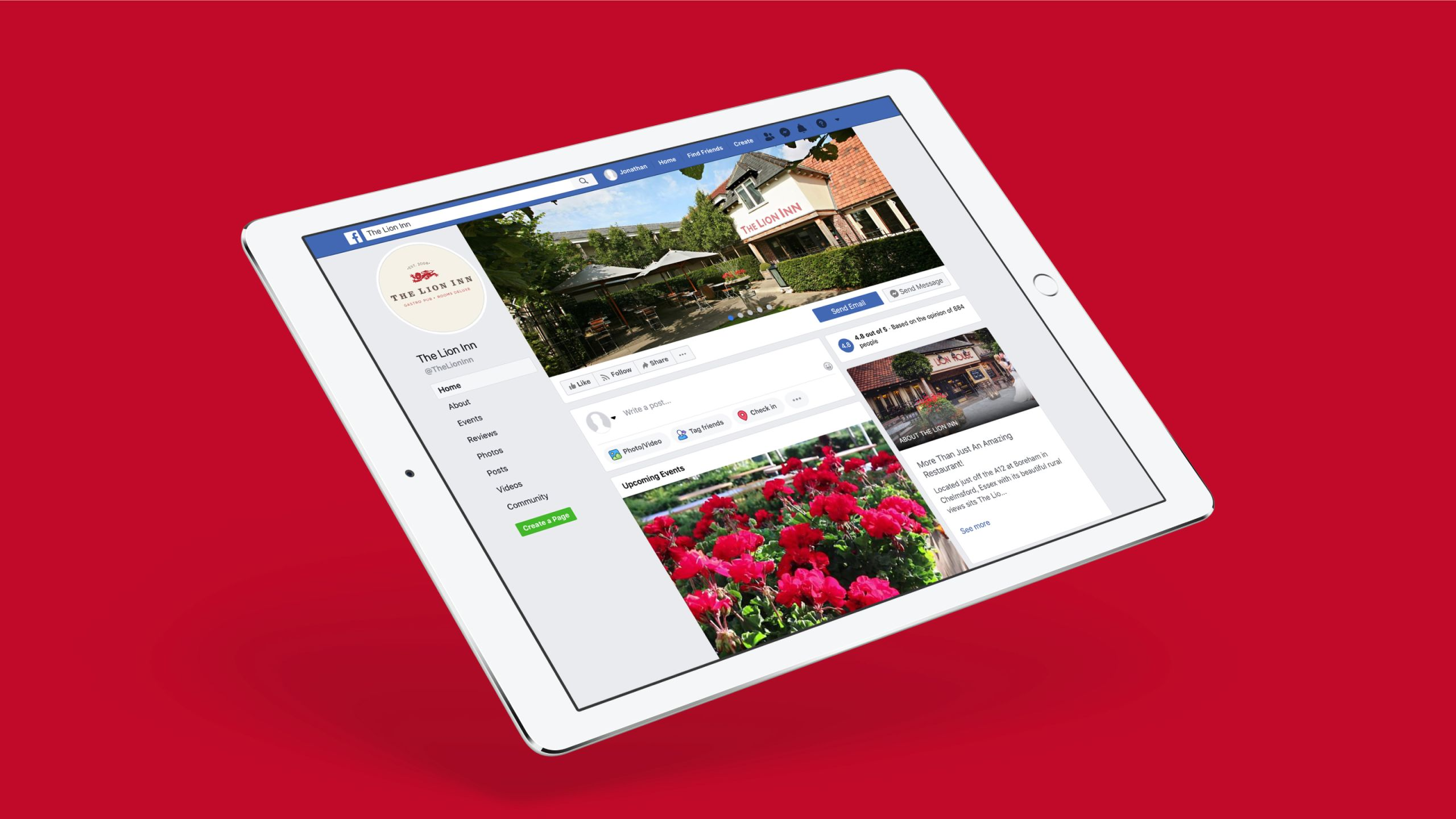 The Lion Inn Facebook page displayed on a tablet.