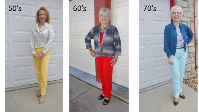 colored jeans for the 50's, 60's & 70's.