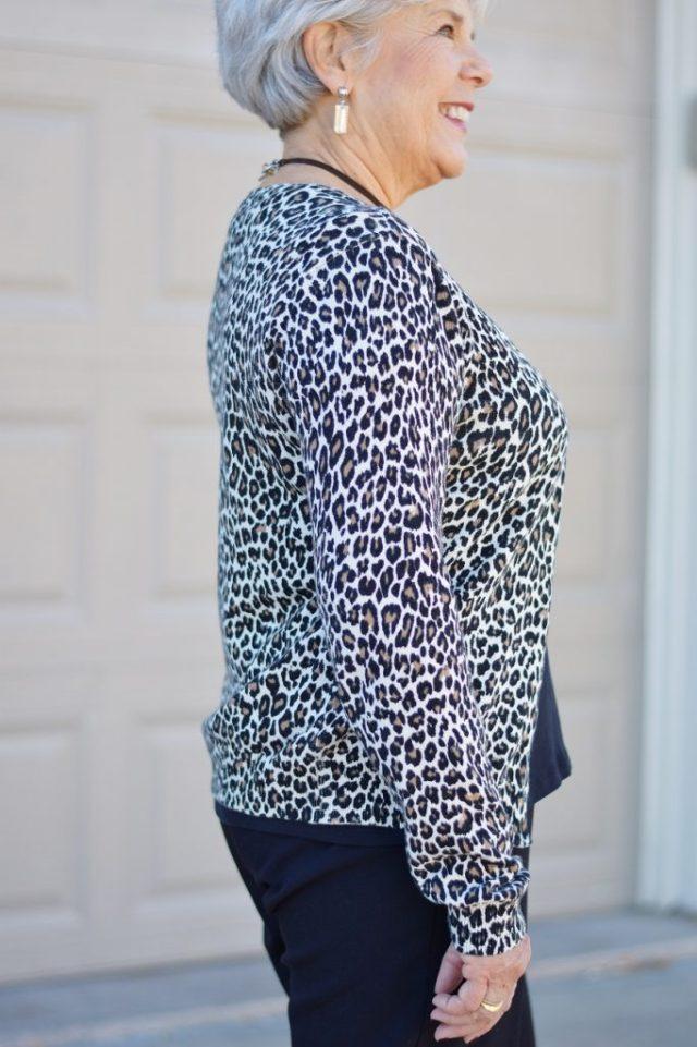 Women in their 50's, 60's, & 70's wearing animal prints.