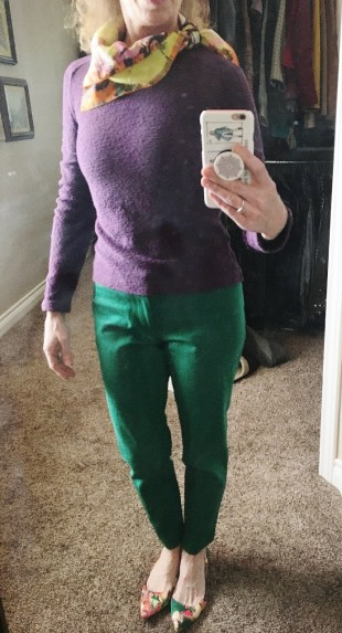 Purple sweater & Green pants & floral shoes