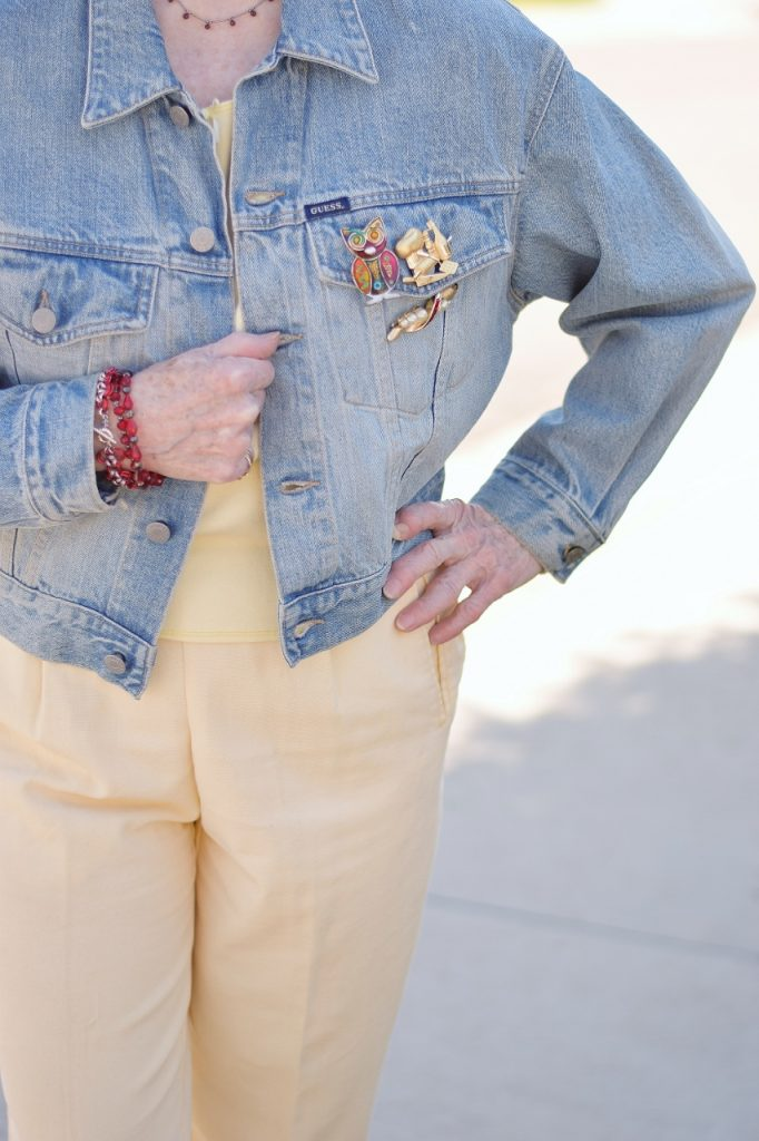 Brooches on a denim Jacket