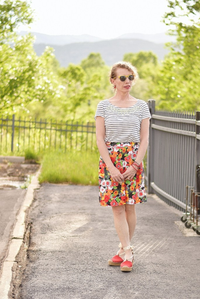 Print mixing for classic to modern ways to style a skirt