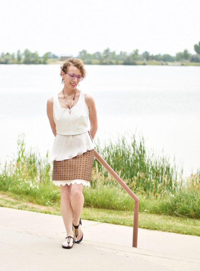 Woman over 40 & short skirt with extender under the skirt