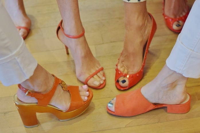 Orange & red shoes