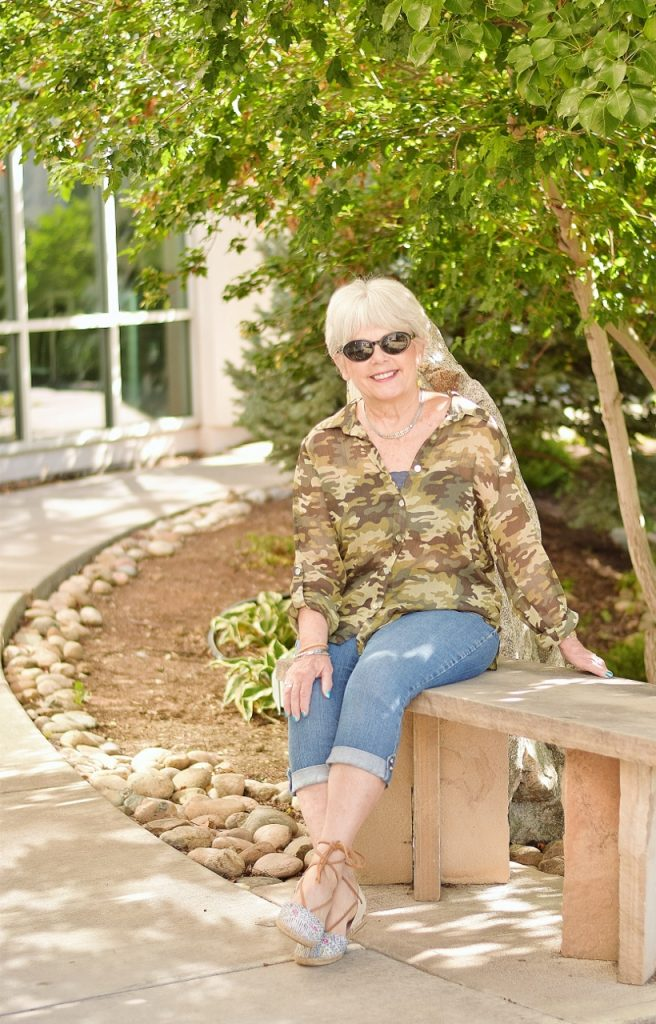 denim and camo are a good fit women 60+