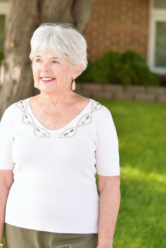 Blush and olive green for older women