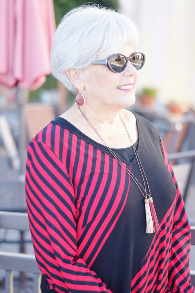 stripes in a tunic