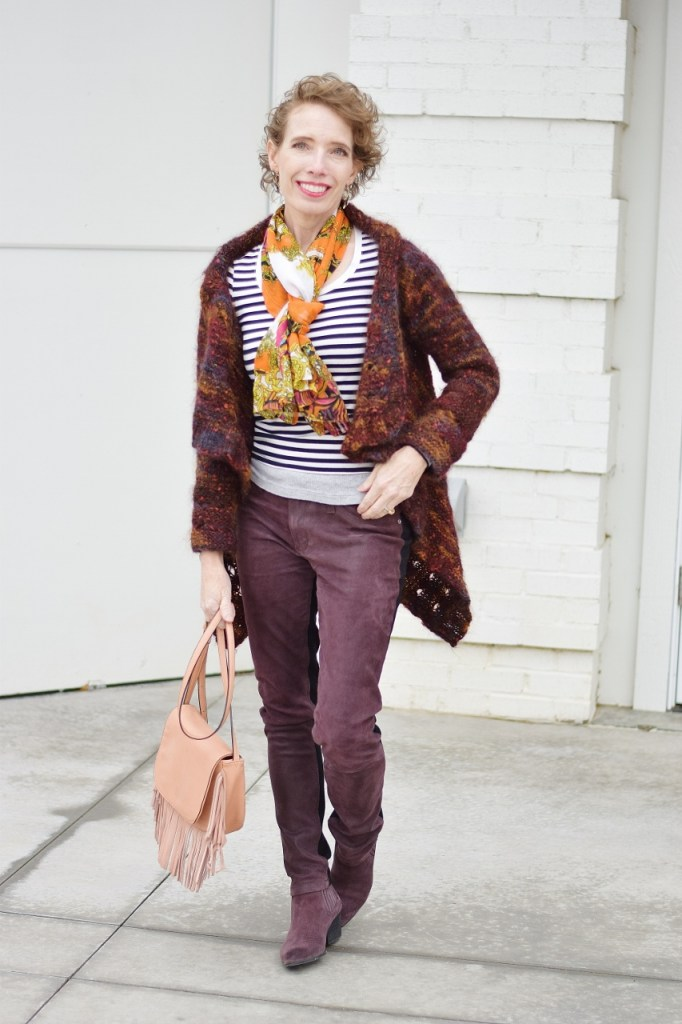 Midlife style with stripes and print mixing