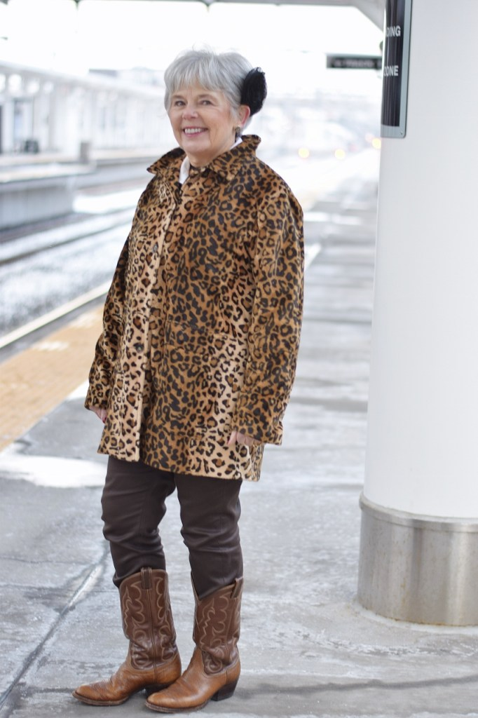 Woman in her 60's with a retro piece of clothing