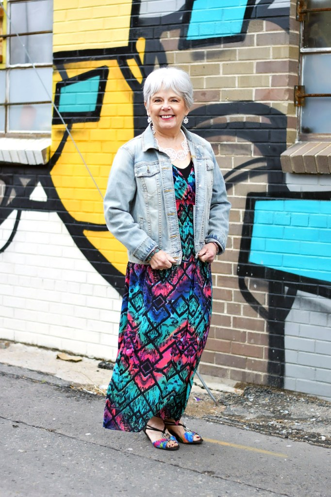 Styling a denim jacket with a maxi dress