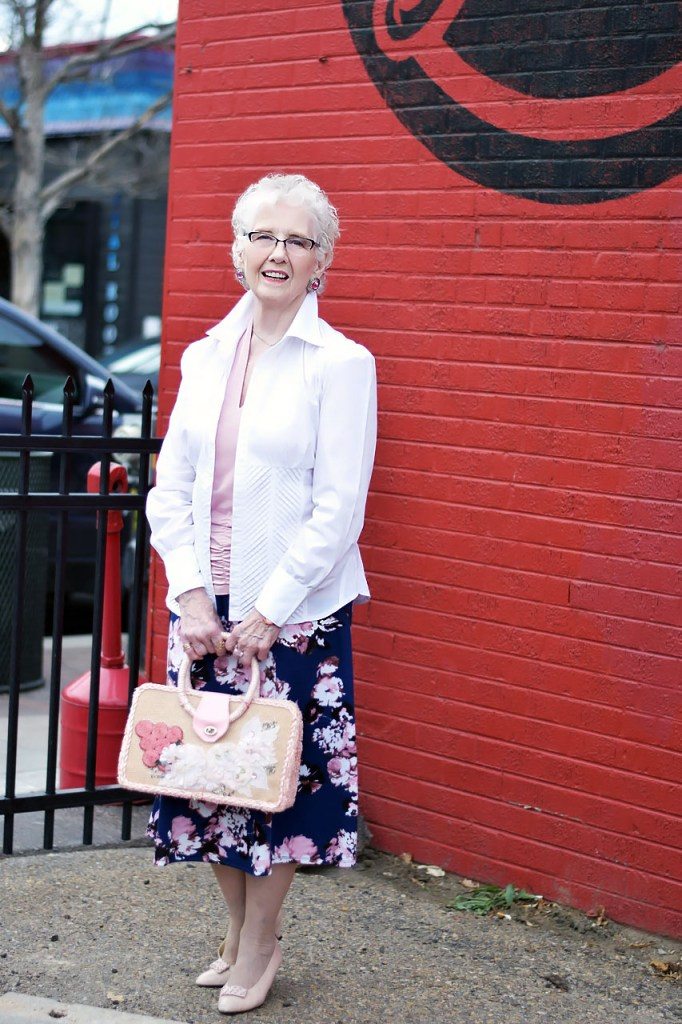 A White button down with another top for women over 80