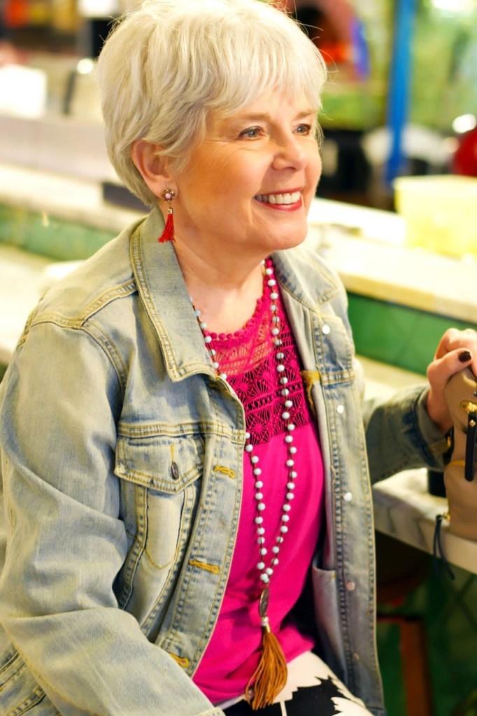 Wearing denim jackets for women in older years
