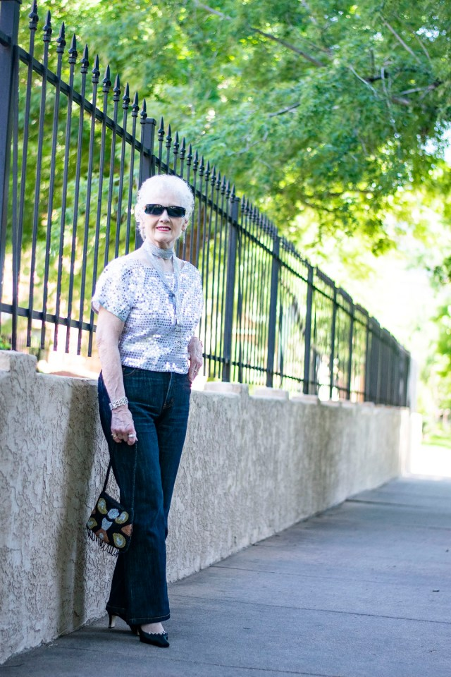 Styling a dressy outfit with jeans for women over 80