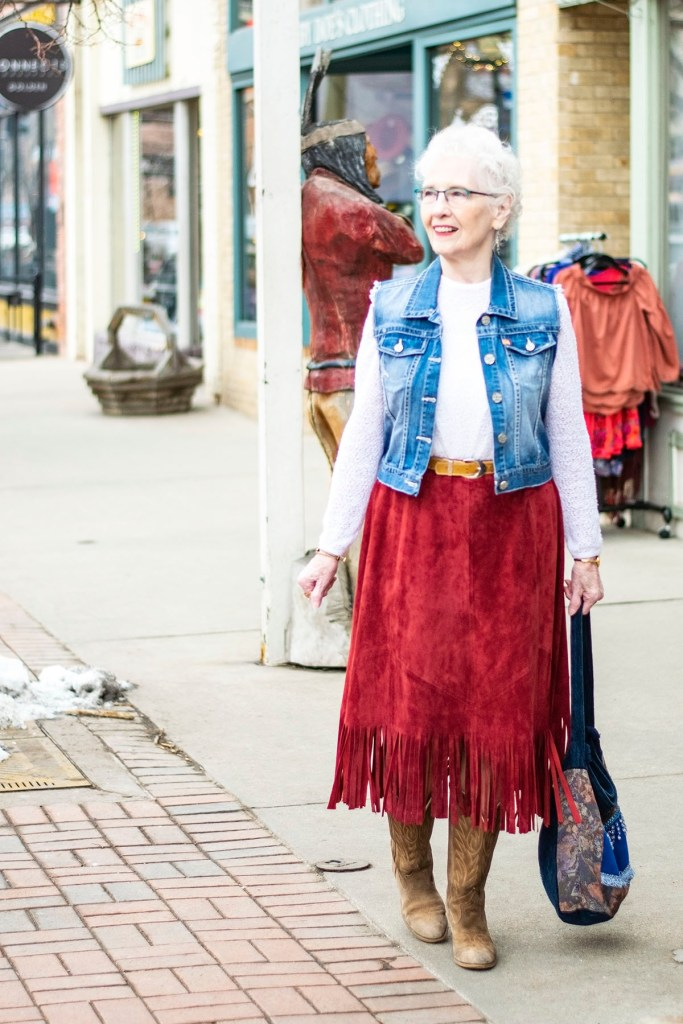 Wearing country western attire in Golden, Colorado