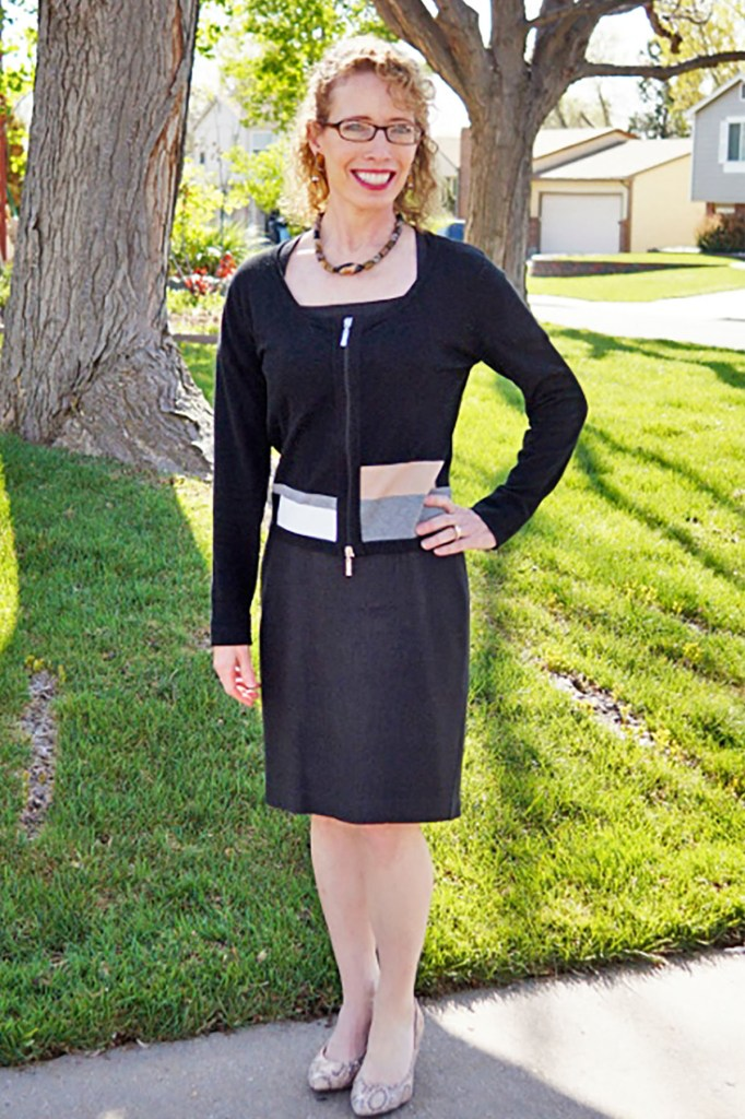 Woman over 50 in funeral attire with a LBD