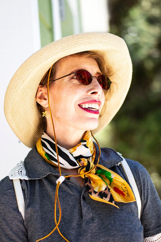 Outside and how to style a scarf in the summer