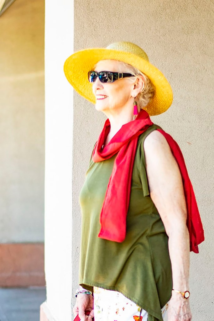 Woman over 80 and how to style a scarf in the summer