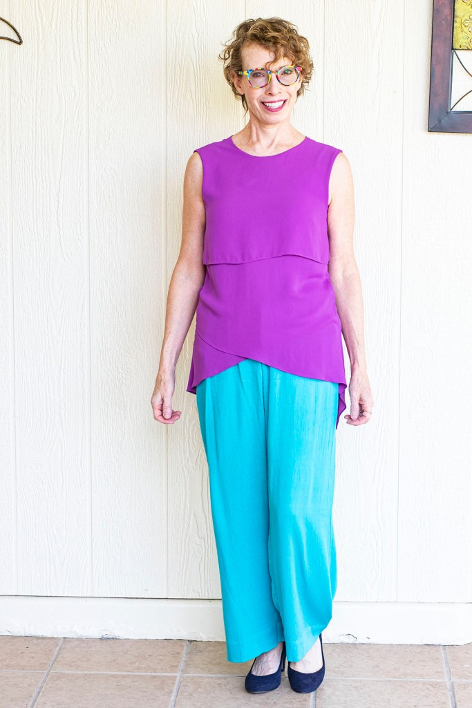Asymmetrical top with wide leg pants for curvy women