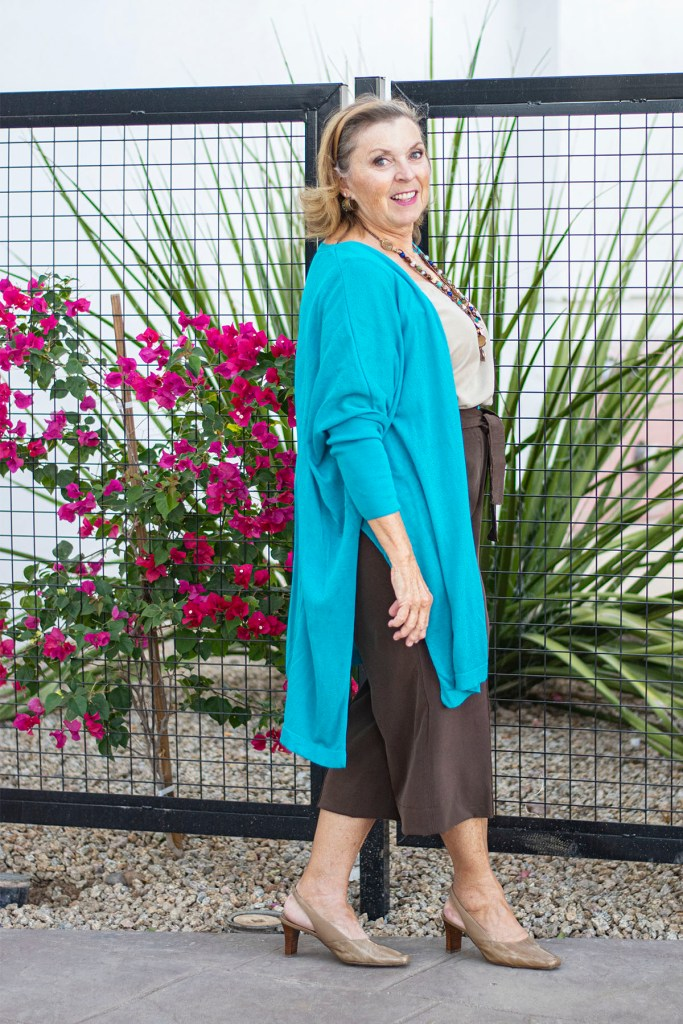 Cropped wide leg pants with cardigan