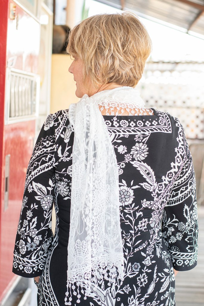 Lace scarf with dress
