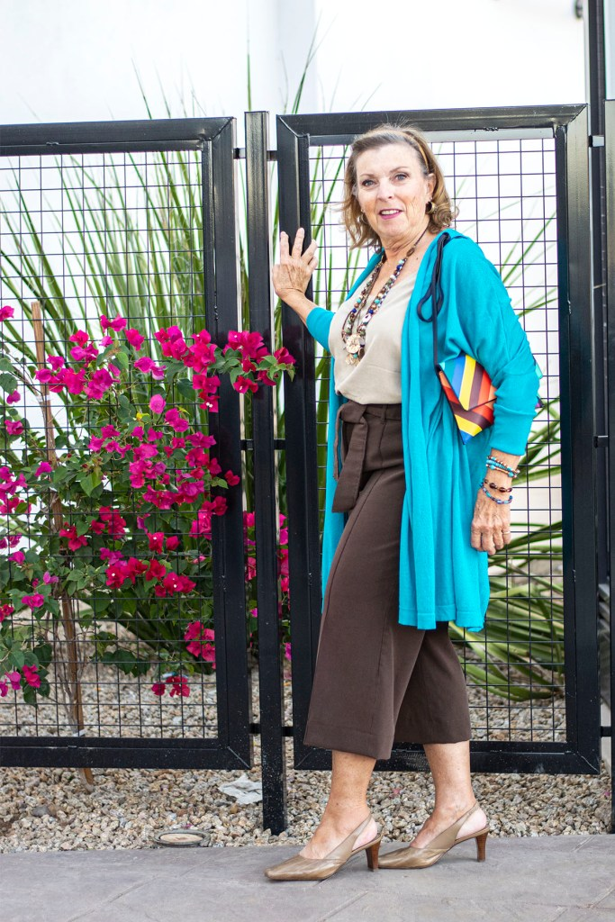 Turquoise and brown as wide leg pants with a cardigan