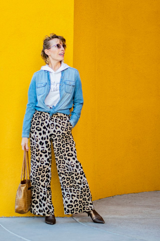 Chambray shirt and leopard