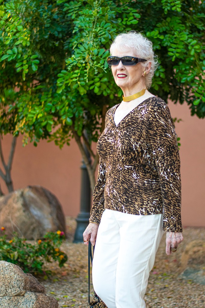 Can older women wear a leopard print outfit?