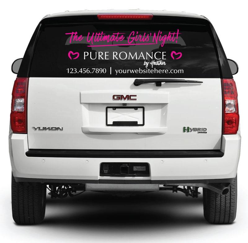 Pure Romance Rear Window Decal  Ultimate Girls Night Pink  Pure - Rear window decals for vehicles