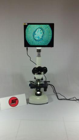 Mikroskop Cahaya AmScope 40X-2000X 3W LED Trinocular dan 5MP layar sentuh 9.7''