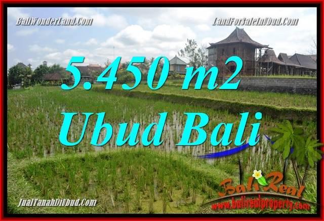 Tanah Dijual di Ubud Bali 5,450 m2  View sawah, lingkungan Villa