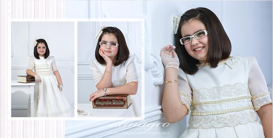 Reportaje de comunion en estudio para Lucía por Juan Almagro Fotografo