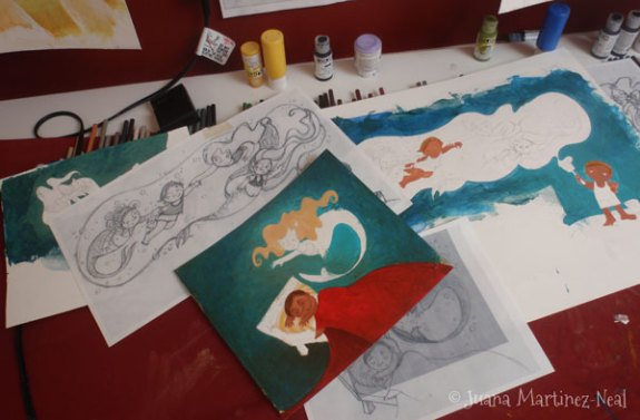 Working on the 3 illustrations for Jorge, el Pintor de Sirenas