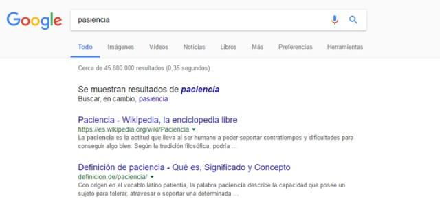 Cómo buscar en Google paciencia