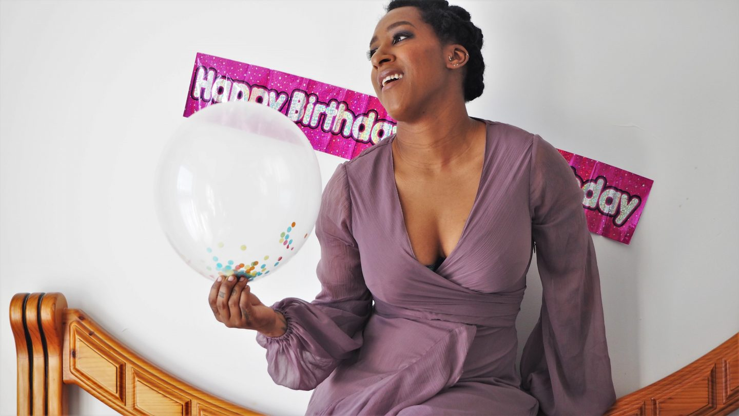 floaty dress, balloons. birthday celebration in self isolation