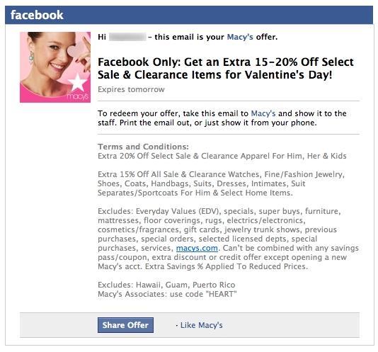 Email cupones Facebook.