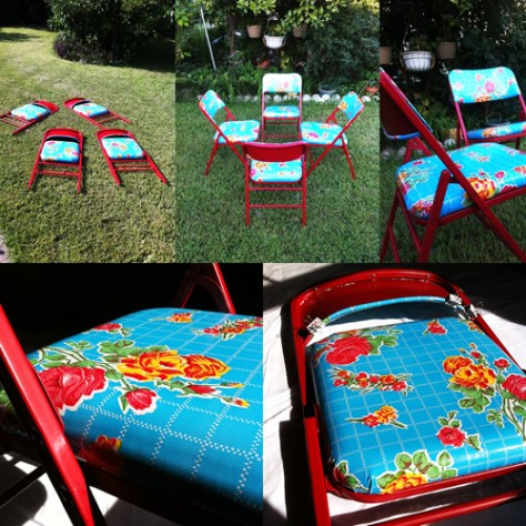 Revamped Mexi-Stlye Foldable Chairs Mexican Oil Cloth anjelica cazares la_anjel juanofwords