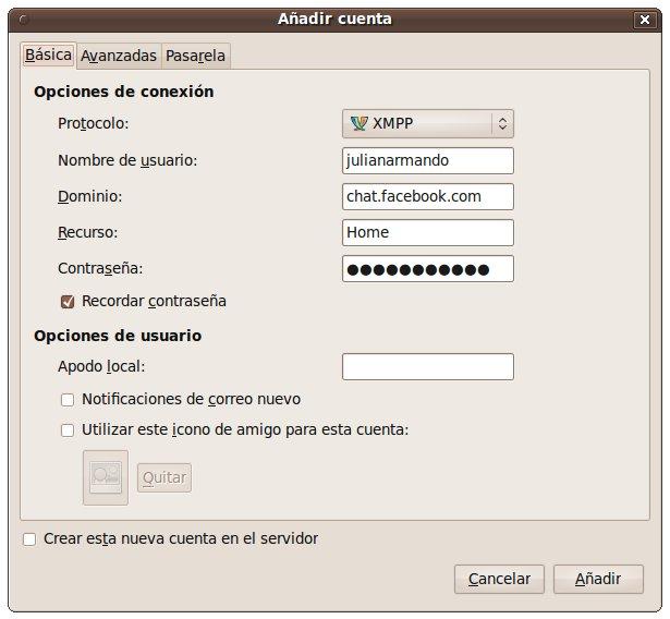 facebook pidgin Usar Chat de Facebook en Pidgin con XMPP