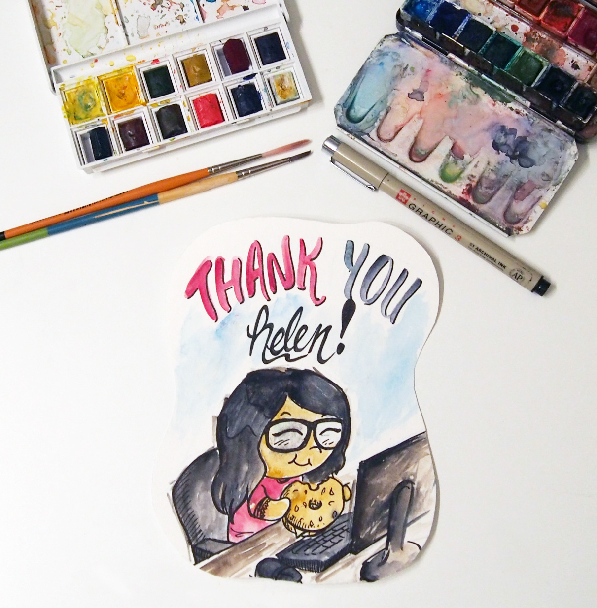 Custom Thank You Card In Watercolour Juberry