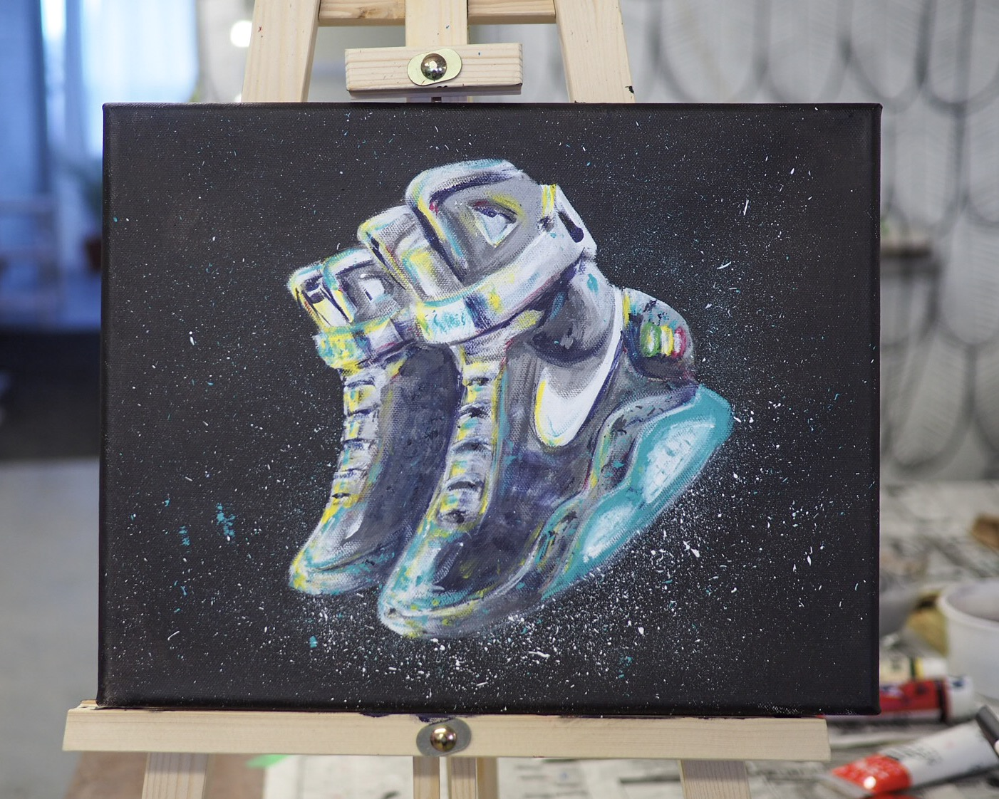 """Nike Air Mag """"back To The Future"""" Acrylic Painting"""