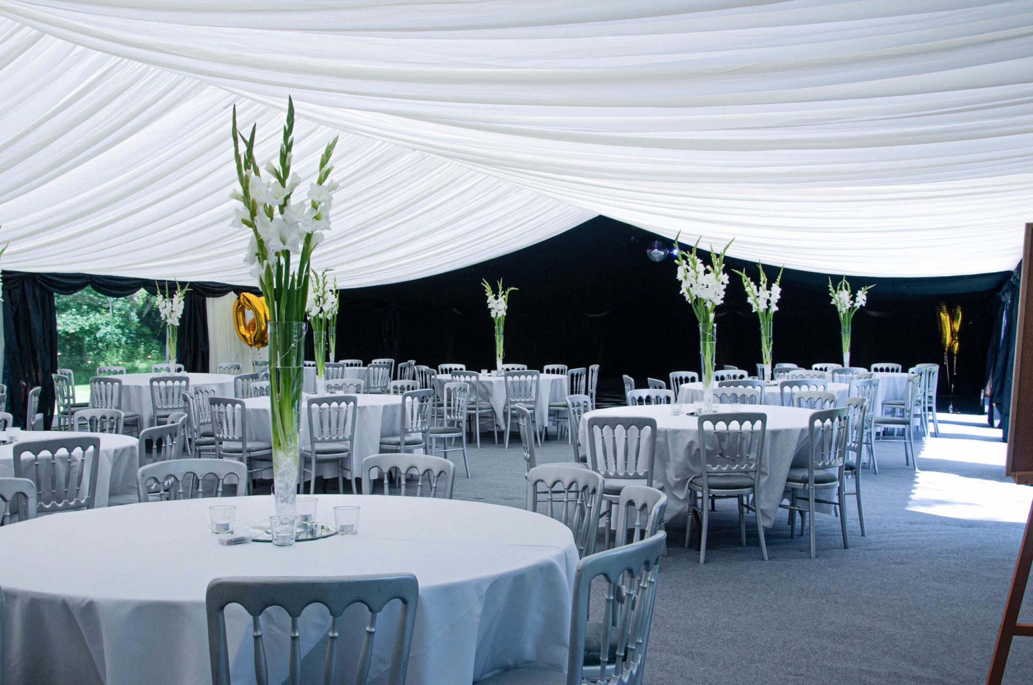 marquee interior example. lined & carpeted