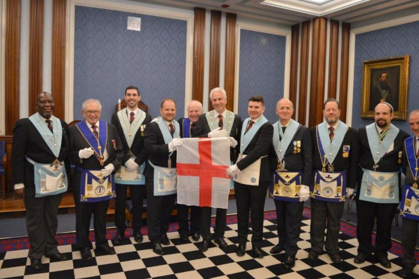 Jubilee Lodge with England Flag