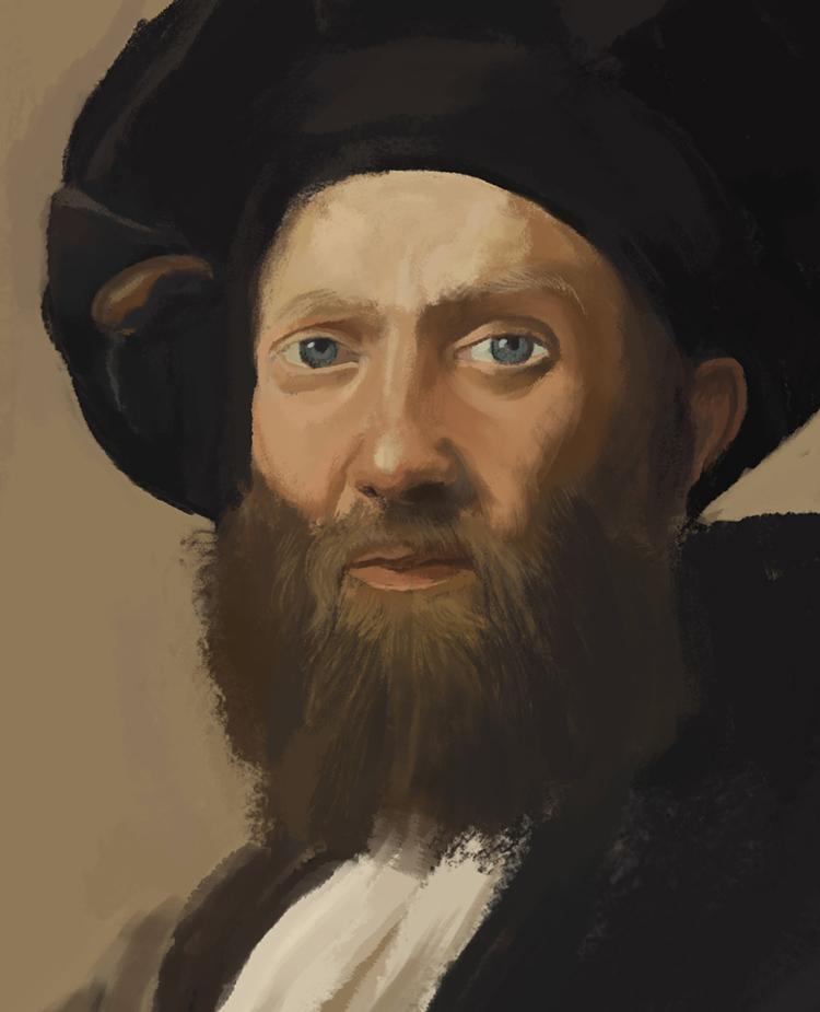 041314 Digital Doodle 11 Raphael_Portrait Of Baldassare Castiglione Study 2 detail