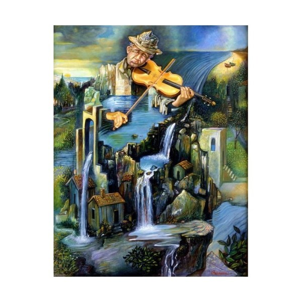 Israel Rubinstein - Fiddler Falls Jewish Art Oil