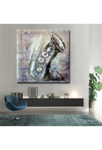 Saxophone - Hand-Painted Musical Home decor wall art oil ...